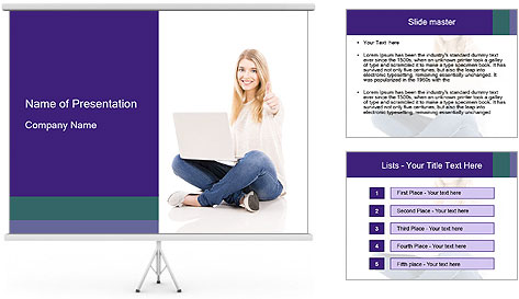 Beautiful and happy woman working PowerPoint Template