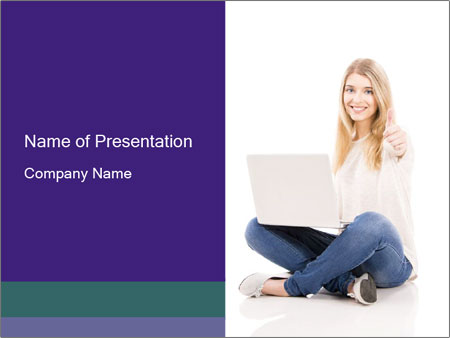 Beautiful and happy woman working PowerPoint Templates