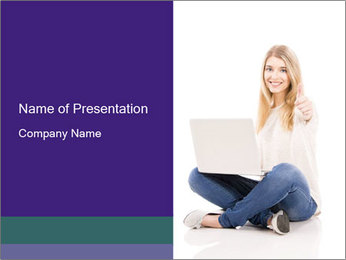 Beautiful and happy woman working PowerPoint Templates - Slide 1