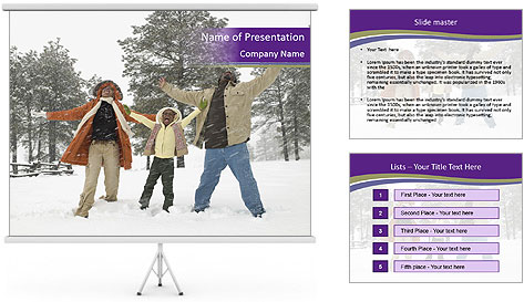 Family playing in the snow PowerPoint Template