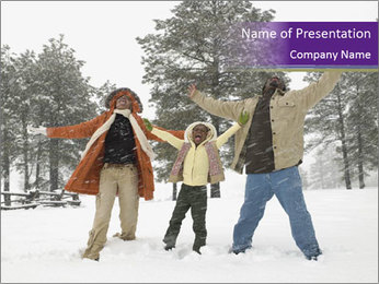 Family playing in the snow PowerPoint Templates - Slide 1