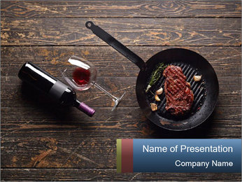 Beef steak in a grill pan PowerPoint Template - Slide 1