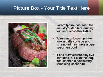 Beef steak in a grill pan PowerPoint Template - Slide 13