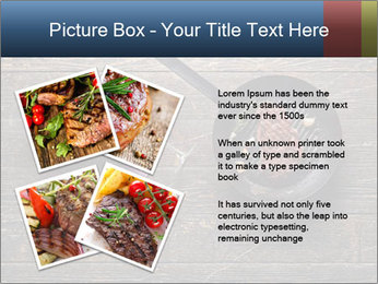 Beef steak in a grill pan PowerPoint Template - Slide 23