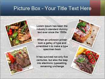 Beef steak in a grill pan PowerPoint Template - Slide 24