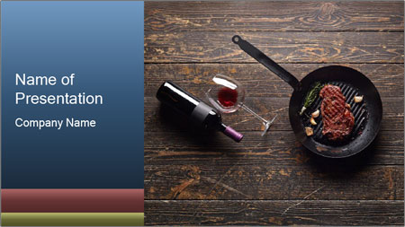Beef steak in a grill pan PowerPoint Template
