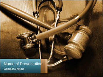 Gavel and stethoscope PowerPoint Template