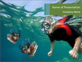 Young woman snorkeling PowerPoint Template - Slide 1