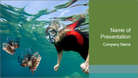 Young woman snorkeling PowerPoint Template