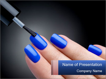 Blue Nail Color PowerPoint Template - Slide 1