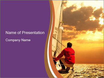 Sailor And Golden Sunset PowerPoint Templates - Slide 1