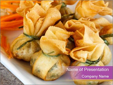 Fried pork dumplings PowerPoint Template