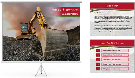 Excavator on a quarry tip PowerPoint Template