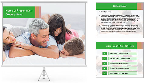 Cute family lying on bed PowerPoint Template
