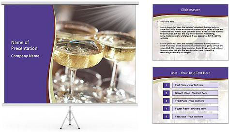 Three glasses PowerPoint Template
