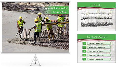 Workers pouring concrete PowerPoint Template