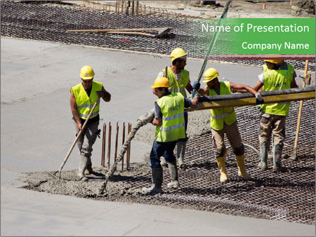 Workers pouring concrete PowerPoint Template, Backgrounds & Google ...