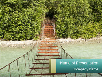 Turquois River into the Woods PowerPoint Template - Slide 1
