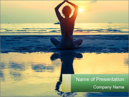 Yoga woman sitting in lotus pose PowerPoint Template