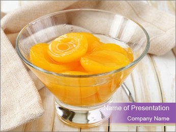 Canned preserve peaches PowerPoint Templates - Slide 1