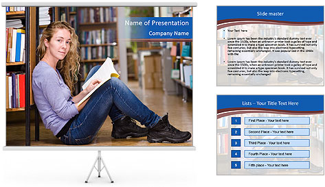 Female student PowerPoint Template