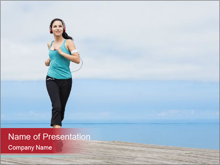 Beautiful young woman jogging PowerPoint Templates