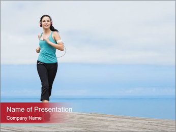 Beautiful young woman jogging PowerPoint Template - Slide 1