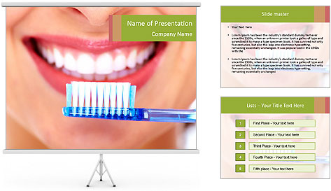 Beautiful woman with toothbrush PowerPoint Template