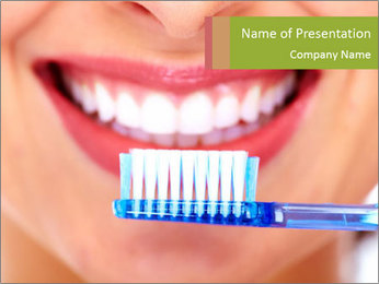 Beautiful woman with toothbrush PowerPoint Template - Slide 1