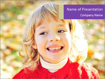 Little girl in fall missing PowerPoint Template - Slide 1