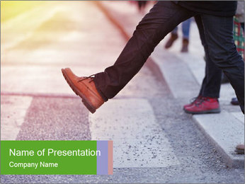 Man taking the step PowerPoint Template
