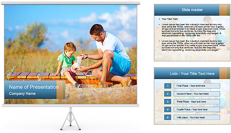 Father bandaging PowerPoint Template