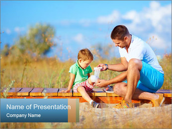 Father bandaging PowerPoint Templates - Slide 1