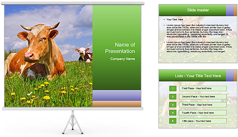 Cow on a summer PowerPoint Template