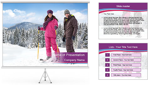 Young woman and man skiers PowerPoint Template