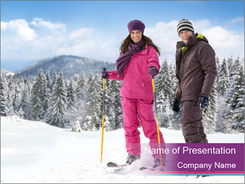 Young woman and man skiers PowerPoint Template - Slide 1