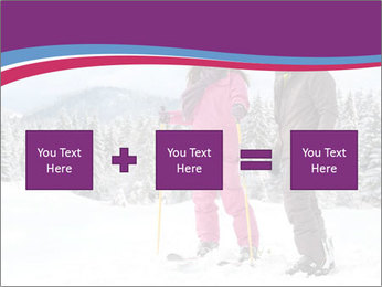 Young woman and man skiers PowerPoint Template - Slide 95