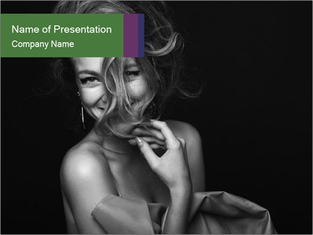 Emotional portrait of a beautiful blonde PowerPoint Template