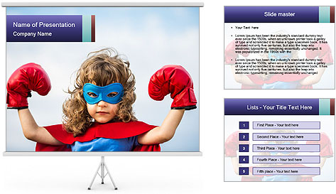 Superhero kid PowerPoint Template
