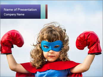 Superhero kid PowerPoint Template - Slide 1