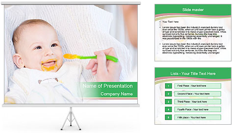 Mother feeding PowerPoint Template