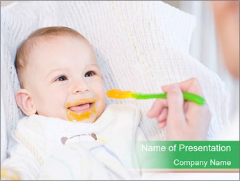 Mother feeding PowerPoint Template - Slide 1