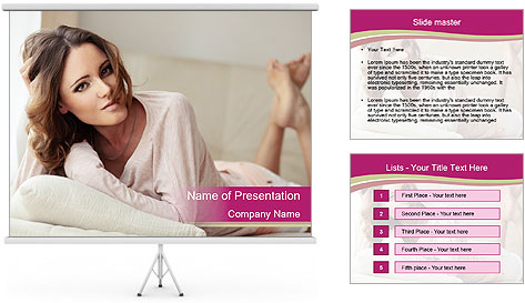 Home portrait of beautiful young woman PowerPoint Template