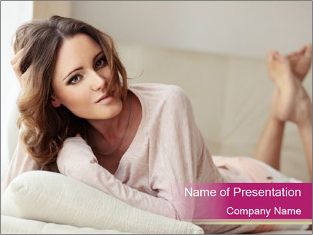 Home portrait of beautiful young woman PowerPoint Templates
