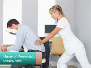 Masseuse treating clients PowerPoint Template - Slide 1