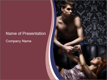 Young couple in bdsm PowerPoint Template