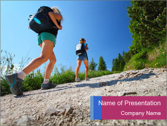 Two female hikers walking PowerPoint Template