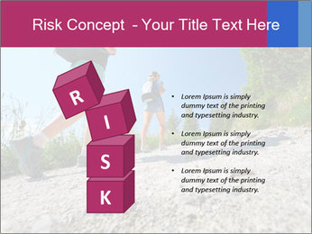 Two female hikers walking PowerPoint Template - Slide 81