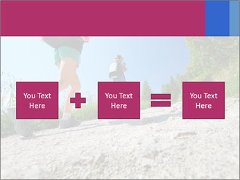 Two female hikers walking PowerPoint Template - Slide 95
