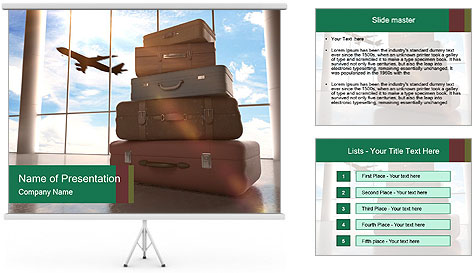 Travel bags in airport PowerPoint Template
